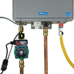 Tankless water heater with hot water recirculating pump